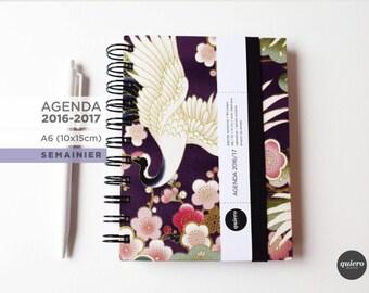 Agenda A6 2016-2017 - Japanese - crane purple fabric