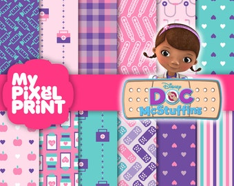 Doc McStuffins Disney Junior Inspired - Purple Pink Teal Birthday Party Girls Lambie Stuffy Patterns - Digital Scrapbooking Paper Pack