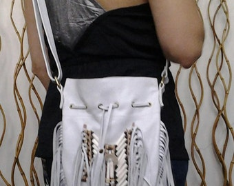 N45M- Reduced Price! Medium  White Indian leather Handbag, Native American Style bag.Crossbody bag