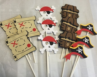 Pirate cupcake Toppers, Pirate party Decorations