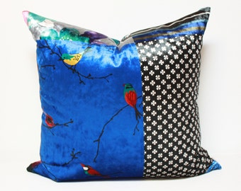20x20 Blue Velvet pillow cover ,Royal Blue accent #1, non repeating pattern, velvet fabric, anna patchwork velvet pillow