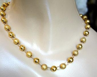 Vintage 14k gold filled bead necklace, Gold Bead Necklace