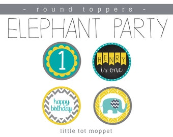 Elephant Party - Round Toppers