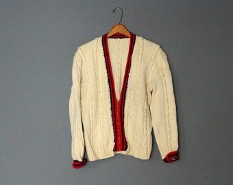 Vintage Preppy Hand-knit Tennis Cardigan Sweater Metal Zipper