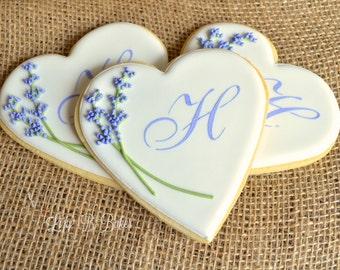 12 Monogrammed Lavender Heart Cookies!