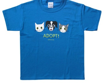 Children's Adopt Dog and Cat Tee in Blue ON SALE!