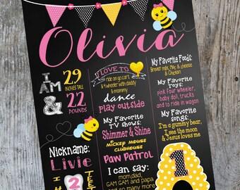 Bumblebee birthday chalkboard, bee sign,  bumble bee board,  First Birthday, Chalk Board,  Sign, Printable Size 16x20