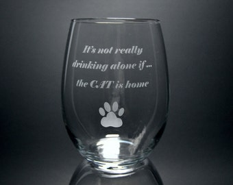 Drinking with the Cat Stemless Wine Glass