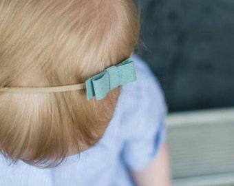 Suede Headband, Mini Bow, Small Headband, Simple Bow, Baby, Skinny Headband, Minimalist Headband, Infant, Newborn, Tiny, Hairband,