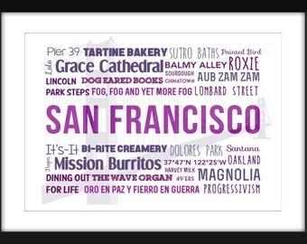 San Francisco Typography A3/A4/A5/11 x 14/8 x 10/5 x 7 Print - A Celebration of San Francisco