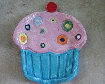 Cupcake Ceramic Dish, Little Ceramic Cupcake Trinket Dish, Cupcake Plate