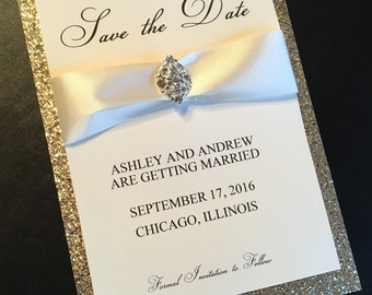 Cream Layered Personalized Save the Date Card with Satin Ribbon and Rhinestone Accent