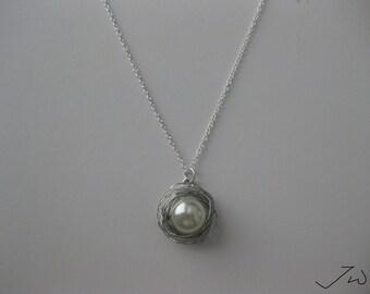 Pearl Silver Wire Chain Necklace
