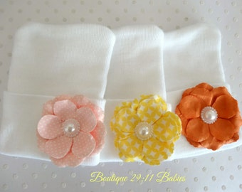You Choose~Newborn Hospital Hat with a Hand Crafted Light Pink, Yellow or Salmon Flower.