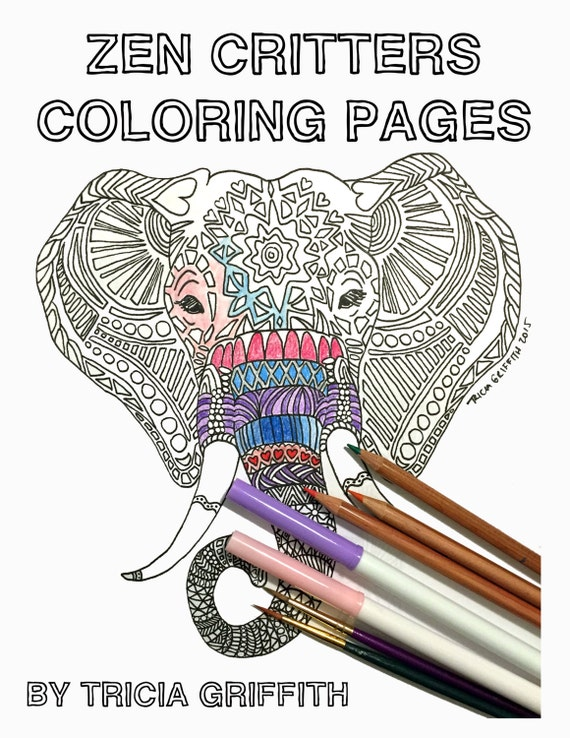 Items Similar To Zen Critters Coloring Book For Adults On Etsy
