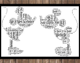 Personalised Mickey & Minnie Mouse Kissing  Wedding Word art Gift