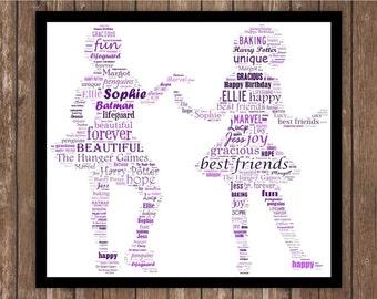 Personalised Best Friends Special Birthday Word art Print?Frame