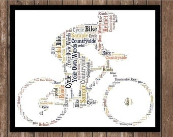 Personalised Cyclist Bike Ride Word art Print/Frame Unique Gift