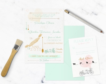 City Dweller pastel Invitation | Customizable | watercolour | bicycle
