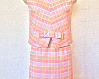1960's Pink Pink Shell and Skirt Set