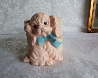 1950s Vintage A B C Pocket Planter, Pink Spaniel Figurine with Blue Bow with Pink and Blue Lettering on White