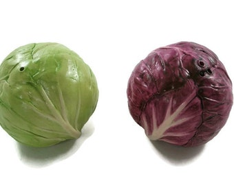 Green and Red Cabbage Salt and Pepper Shakers Ceramic