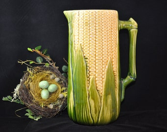 HUGE Majolica Pitcher, 100 pc. for Sale, Please Look, Antique majolica pottery, Corn green yellow pitcher, vintage majolica, 1800's