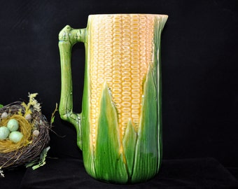Majolica pitcher, over 100 pc. in our shop, please look, vintage majolica, pottery, yellow, green, huge, fabulous gift idea