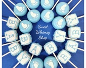 24 Baby Block and Tiny Footprint Cake Pops for baby shower, gender reveal, twins, mom-to-be, first birthday, birth announcement, pink, blue