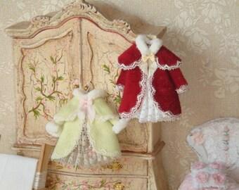 Dollhouse Miniature Velvet coat on hang. 1:12 Dollhouse Miniature clothing for children.