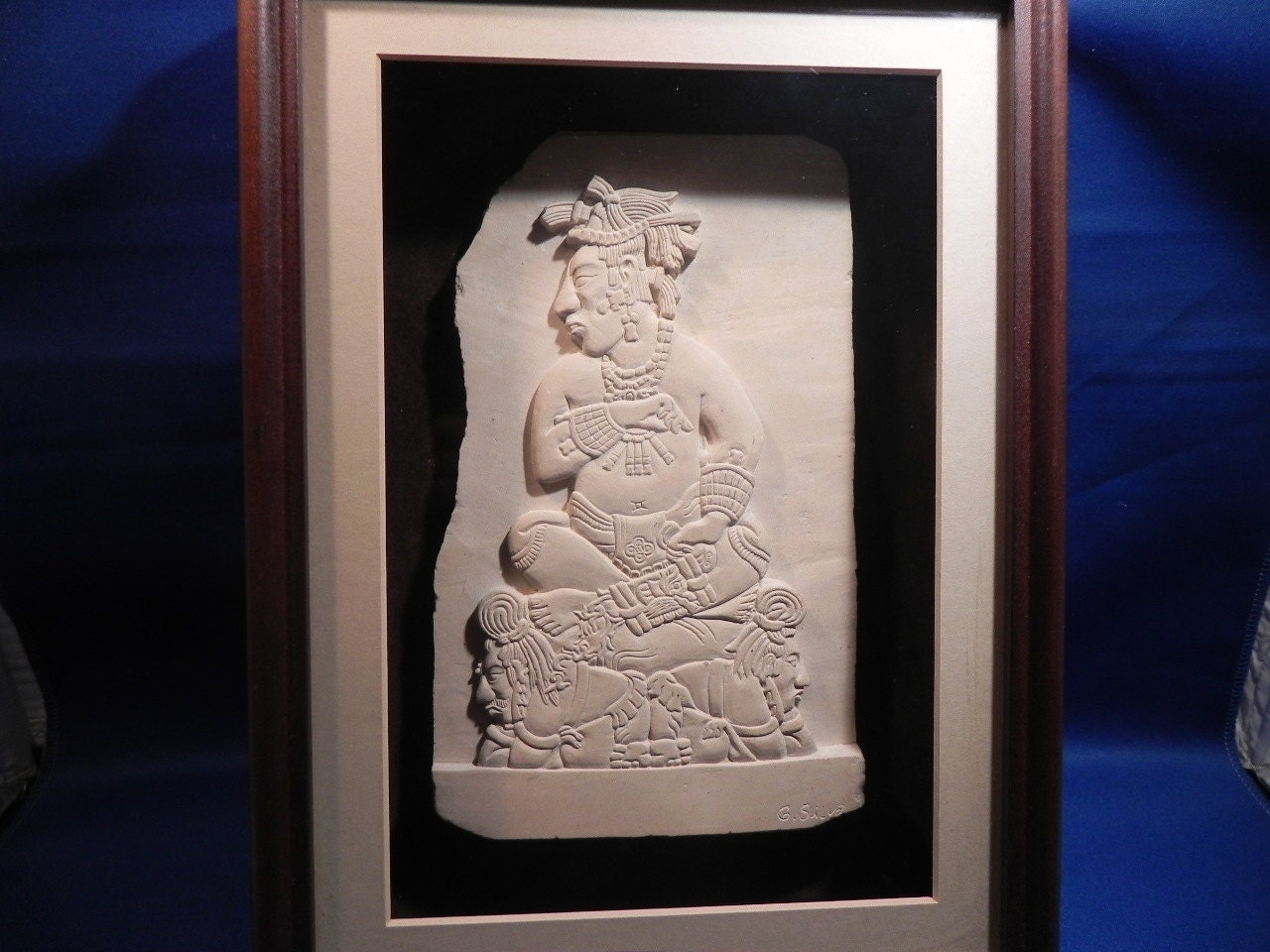 Vintage stone carving bas relief panel mayan by vintiquesetcii