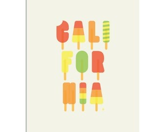Califoria Popsicles - a Summer & Typography inspired, limited edition screenprint