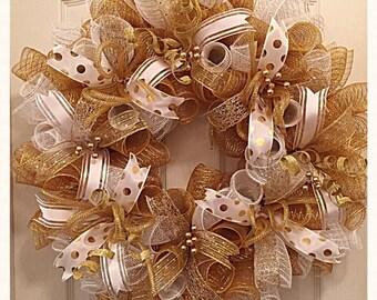 Elegant Gold and White Deco Mesh Wreath/White and Gold Christmas Wreath/White and Gold Wedding Wreath/
