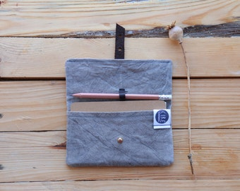 Grey Field-day notebook and pencil pouch - natural dye - waxed canvas notebook cover, Moleskine journal included
