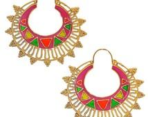 Indian Antique Jewelry Classic Filigree Hoop Earrings Multicolor Maayra MY3674