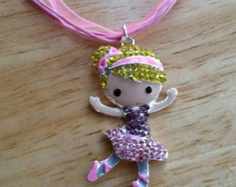 Ballerina Ballet Dance Necklace Rhinestone Sparkle