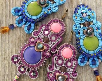 Long purple earrings, dangle soutache earrings, hand embroider earrings, violet dangle earrings, soutache jewelry, pink earrings