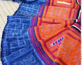 Vintage Cotton Ethnic Hmong Tribal Indigo Textile Rare Handmade Cross stitch Craft supplies