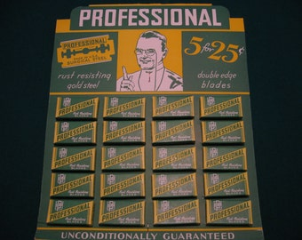 Vintage NOS Professional Razor Blade Store Display w/20 Boxes of Blades, 5 Blades / Box, Rust Resisting Surgical Steel