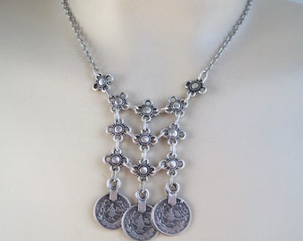 Bohemian Silver 3 Coin Gypsy Necklace