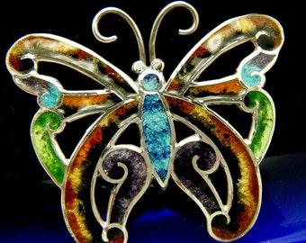 Vintage Taxco Mexico Enamel Butterfly Sterling Silver Brooch Pin