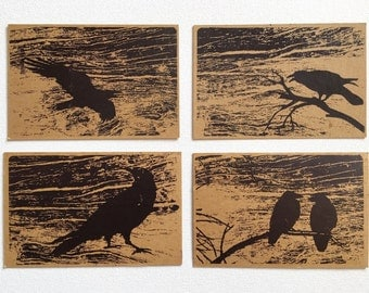 Set of 4 hand printed postcards with ravens.