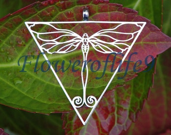 Dragonfly in triangle pendant (1 3/4 x 1 3/4 inch) - Stainless Steel