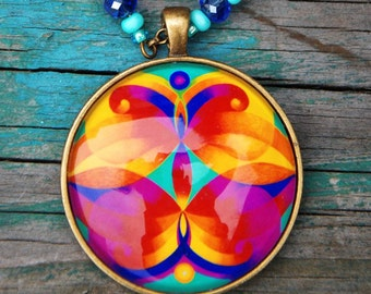 Angels of mercy mandala pendant