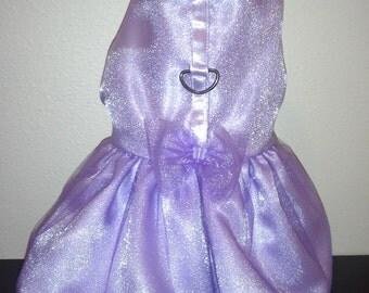 Purple lilac satin organza tulle dress for small dogs