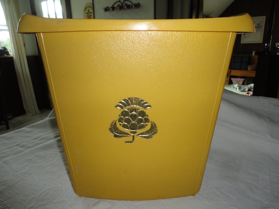 Plastic golden yellow waste paper basket by tammysfindings for Gold bathroom wastebasket