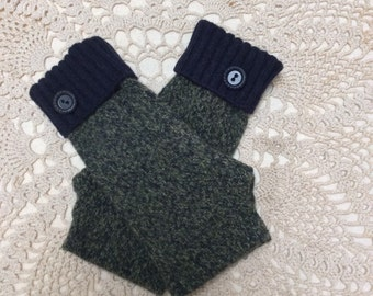 Wool fingerless gloves-Upcycled-recycled navy blue snd green tweed lambswool fingerless gloves-made from sweaters