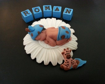 Fondant Giraffe baby cake topper for Baby Shower, Birthday
