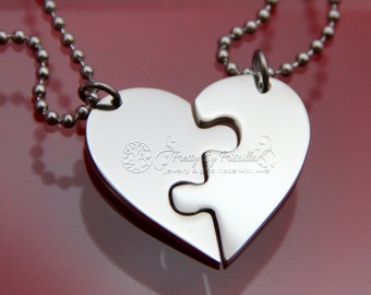 TWO Piece HEART Jigsaw Puzzle Necklace Set Made of Stainless Steel w/ Glossy Finish -Sister Necklace Best Friend Necklace Gift for friends