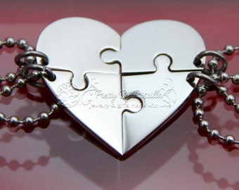 FOUR Piece HEART Jigsaw Puzzle Necklace Set Made of Stainless Steel w/ Glossy Finish -Sister Necklace|Best Friend Necklace|Gift for friends